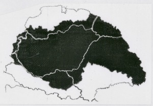 II.The area of Hungarian majority within pre-World War I Hungary is indicated in black. The white lines represent the current borders.