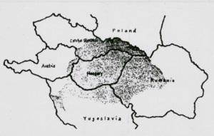 III. The shaded area represents Hungary's pre-World War I territory.