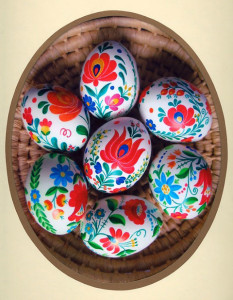 Hungarian Decorated eggs, painted with Matyó and Kalocsa designs